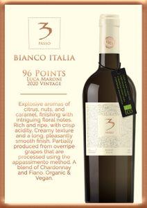 Three Passo Bianco Italian Organic White Wine (Luca Maroni: 96 pts)(Grapes:Chardonnay, Fiano)