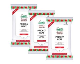 3 Packs Wipes Snake Brand Prickly Heat Cool Body Wipes (Original Classic Scent)
