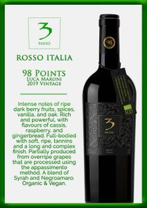 Three Passo Rosso Italian Organic Red Wine (Luca Maroni: 98 pts)(Intense and mature fruit, with soft oak hints)