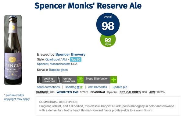 Spencer Monks' Reserve Ale (Quadrupel) (酒評人網Ratebeer 98分啤酒) (八大 修道院啤酒 之一)(330ml)