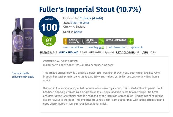 Fuller's Imperial Stout( 被公認為世界最好啤酒之一)(Ratebeer 100分滿分啤酒)