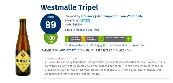 Westmalle Tripel Trappist beer(Ratebeer: 99pts)