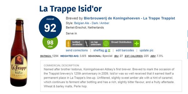 La Trappe Isid'or(八大 修道院啤酒 之一)(酒店評人網:92分)