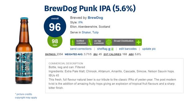 蘇格蘭 BrewDog Punk IPA 啤酒(酒評人網Ratebeer: 96分)(330ml x 2)