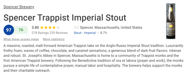 Spencer Trappist Imperial Stout (酒評人網Ratebeer 97分啤酒) (八大 修道院啤酒 之一)(330ml)