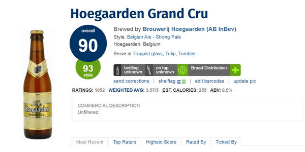 Hoegaerden Grand Cru (Ratebeer: 90 pts)