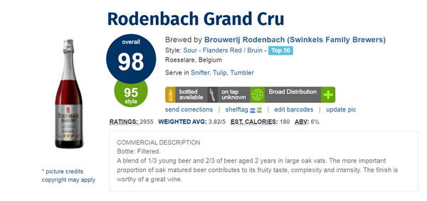 Rodenbach Grand Cru (比利時Sour Red Ale頂級果酸啤酒)(Ratebeer酒評網評分: 98分)(330ml x 2)
