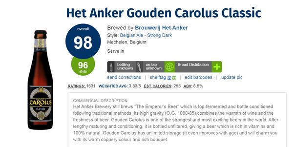Gouden Carolus Classic(酒評人網Ratebeer:98分)