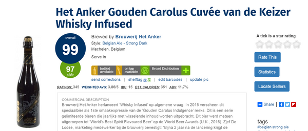 Gouden Carolus Cuvée van de Keizer Imperial Dark Whisky Infused (被譽為是全世界最好的威士忌啤酒)